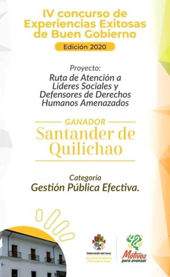 Santander de Quilichao ganador de concurso experiencias exitosas de buen gobierno