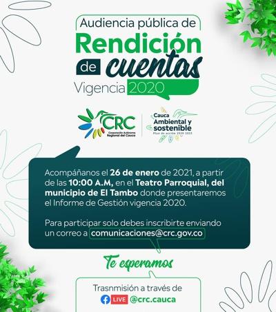 CRC rendirá cuentas a la comunidad el 26 de enero de 2021