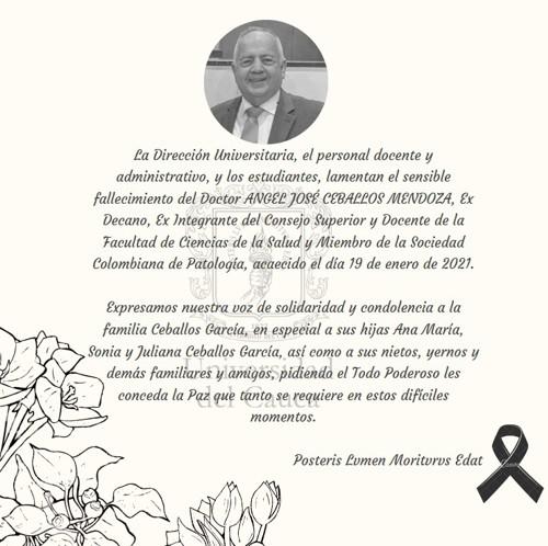 Cauca lamentó fallecimiento del médico Ceballos Mendoza