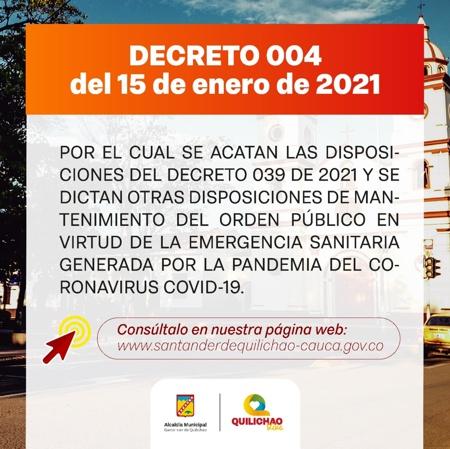 Decreto 004 del 15 de enero de 2021 en Santander de Quilichao