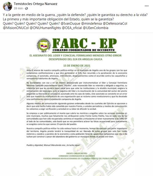 FARC culpa al ELN por asesinato de concejal en Argelia