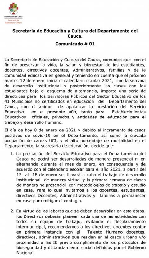 No habrá clases presenciales en instituciones educativas del Cauca