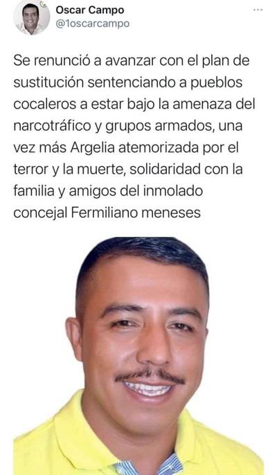 Oscar campo lamentó el asesinato concejal Fermiliano Meneses Hoyos
