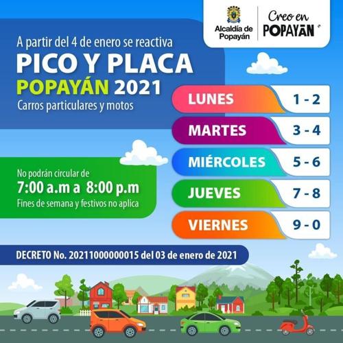 Conozca el nuevo Pico y Placa para Popayán en 2021