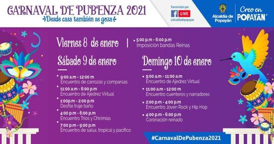 Conozca la Programación completa del Carnaval de Pubenza 2021
