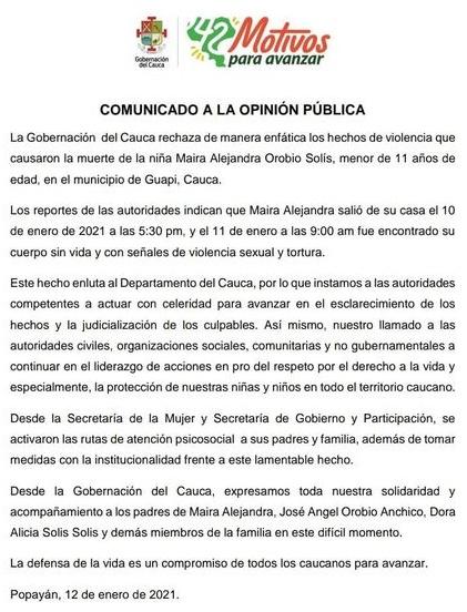 Rechazan enfáticamente violación y asesinato de niña en Guapi - Comunicado Gobernación del Cauca