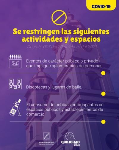 Restricción de actividades durante el penúltimo fin de semana de enero 2021 en Quilichao