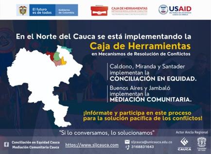 Se está implementando en el Norte del Cauca la Caja de Herramientas en Mecanismos de Resolución de Conflictos