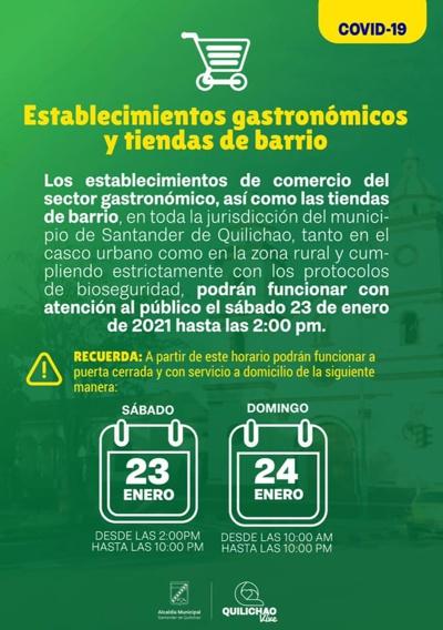 Se podrán comercializar alimentos en Quilichao en Toque de Queda