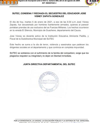 Secuestrado docente en Guachené