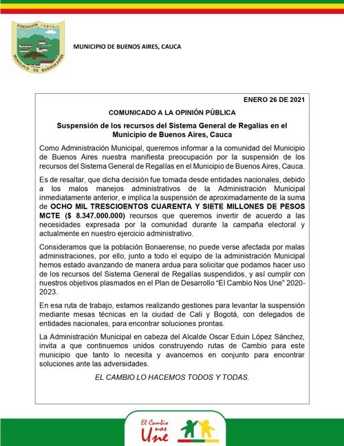 Suspenden recursos de regalías al municipio de Buenos Aires, Cauca