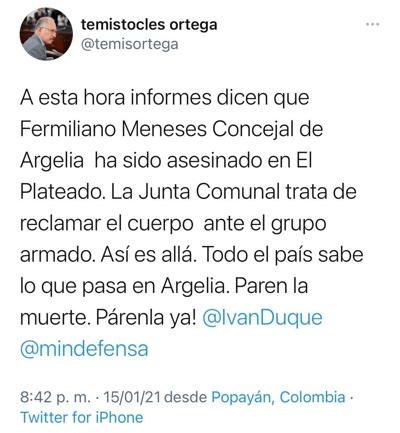 Temístocles Ortega lamentó el asesinato de concejal en Argelia