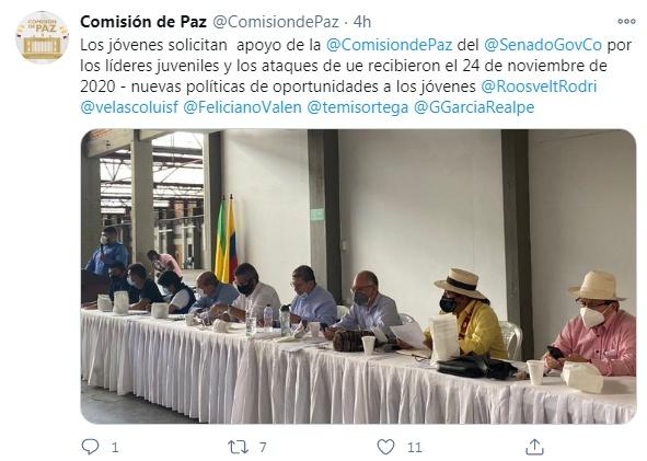 Twitter Comisión de Paz del Senado