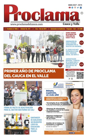 En circulación la Edición Impresa No. 431 de Proclama del Cauca y Valle