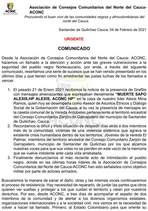 Líderes del norte del Cauca denuncian nuevamente amenazas de muerte - Comunicado ACONC