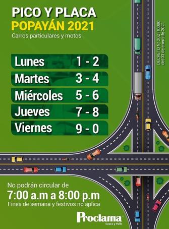 Pico y Placa Popayán 2021