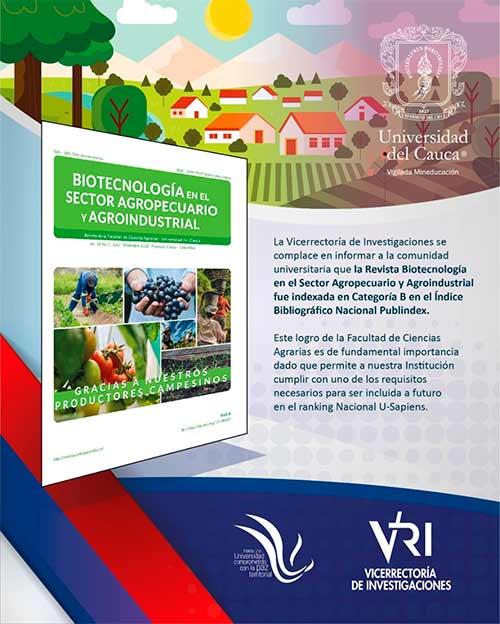Revista Biotecnología en el Sector Agropecuario y Agroindustrial fue indexada en Categoría B