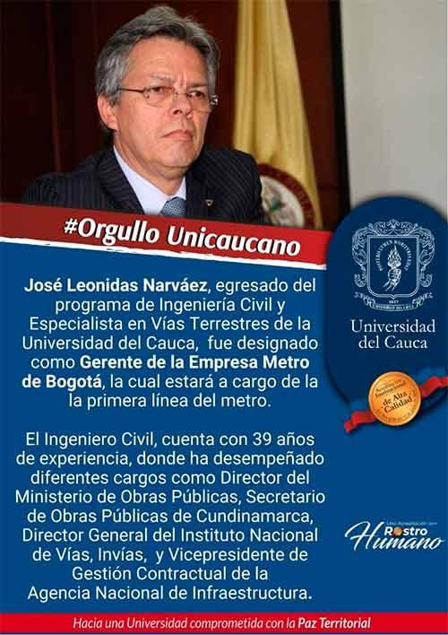 Exalumno de Unicauca es el nuevo gerente de la Primera Línea del Metro de Bogotá