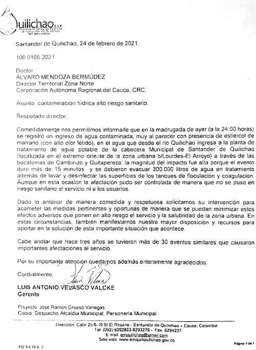 Carta de Emquilichao a la CRC por aguas contaminadas por marraneras