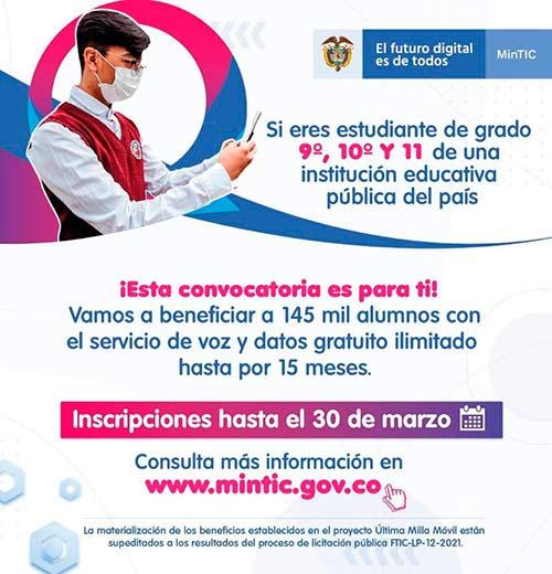 Datos móviles gratuitos para estudiantes de Popayán