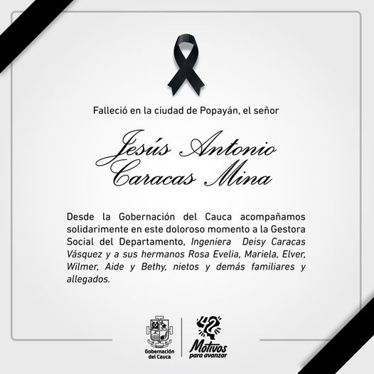 Falleció el padre de la gestora social del Cauca, Deisy Caracas.