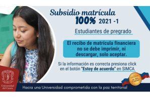 Matrícula subsidiada 100 por ciento en Unicauca