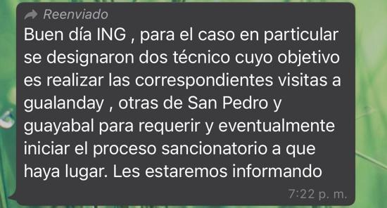 Respuesta del director de la CRC Norte a Emquilichao por aguas contaminadas por marraneras