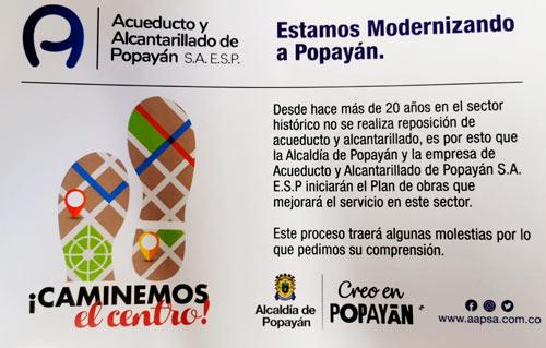 Iniciaron las intervenciones del Acueducto de Popayán en sector histórico