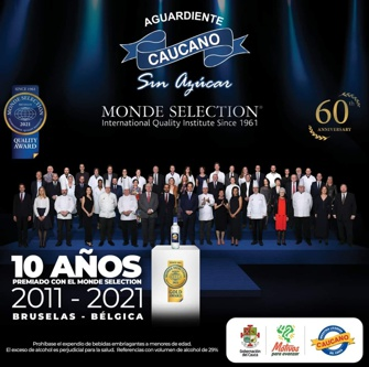 Aguardiente Caucano nuevamente fue premiado en los Monde Selection