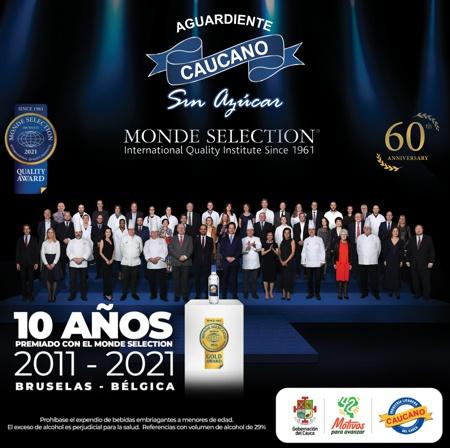 Aguardiente Caucano es premiado en el Monde Selection por su calidad