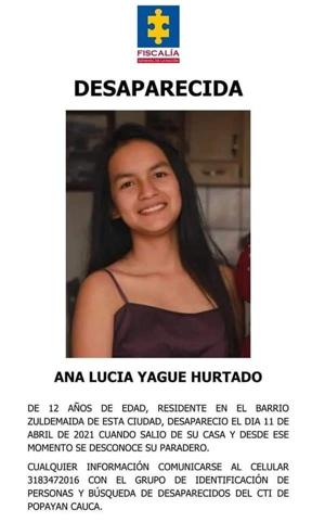 Ana Lucía Yague - Desaparecida en Popayán