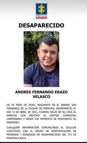 Andrés Fernando Erazo - Desaparecido en Popayán