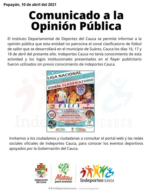 Comunicado a la opinión pública - Indeportes Cauca - 10 de abril de 2021