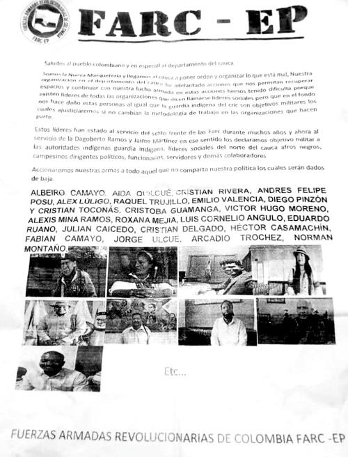 Declaran objetivo militar a líderes sociales y guardia indígena del norte del Cauca