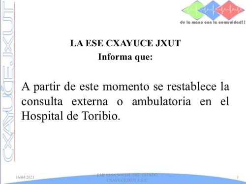 ESE Cxayu'ce Jxut continúa prestando los servicios de salud en hospital de Toribío