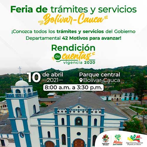 Este sábado 10 de abril, la Gobernación del Cauca realizará la Feria de Trámites y Servicios en el municipio de Bolívar