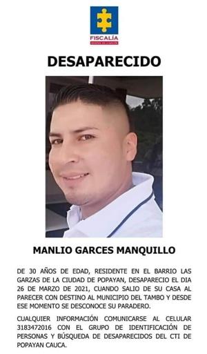 Manlio Garcés - Desaparecido en Popayán
