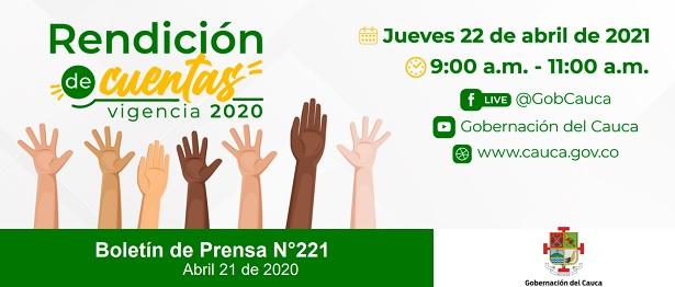 Rendición de cuentas 2020 - Gobernación del Cauca