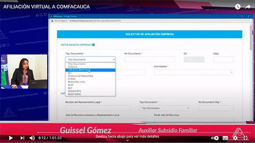 Socialización aplicativo Comfacauca en Línea