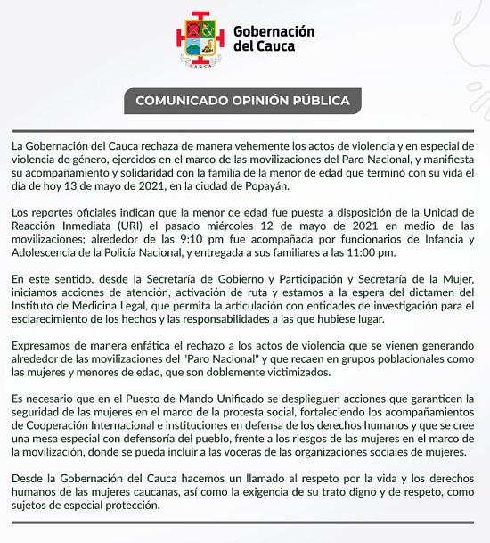 Gobernación del departamento del Cauca expidió un comunicado a la opinión pública