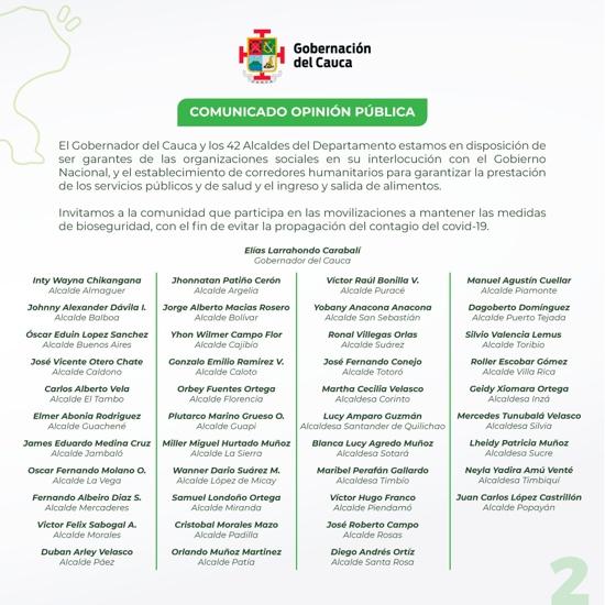 Comunicado de alcaldes y gobernador del Cauca sobre el paro nacional