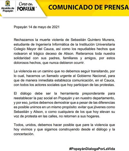 Comunicado de Prensa - Alcaldía de Popayán - Protestas 14M