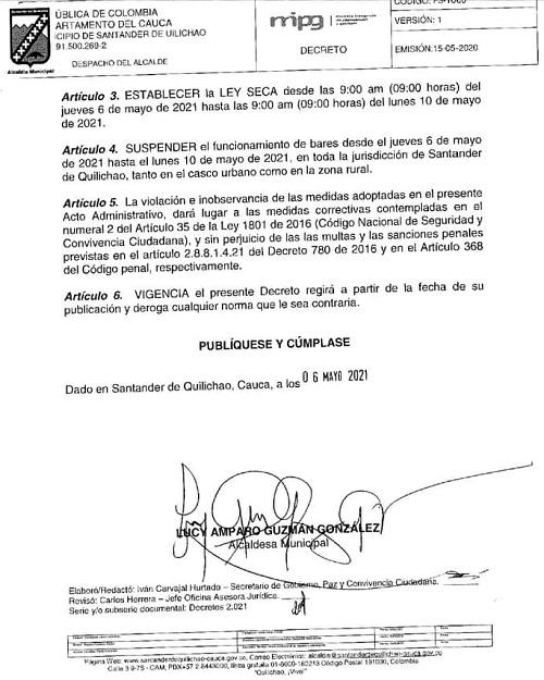Decretan Toque de Queda y Ley Seca en Santander de Quilichao
