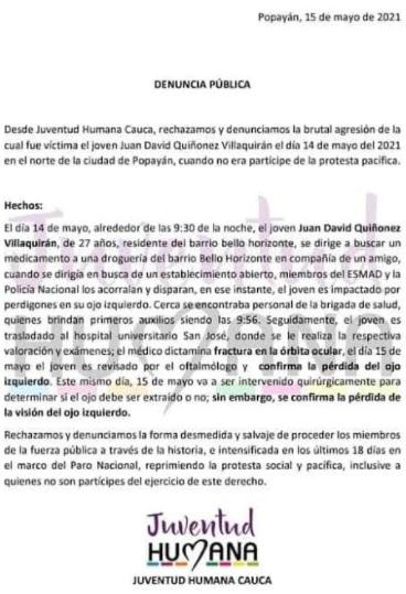Denuncia Pública Juventud Humana Cauca