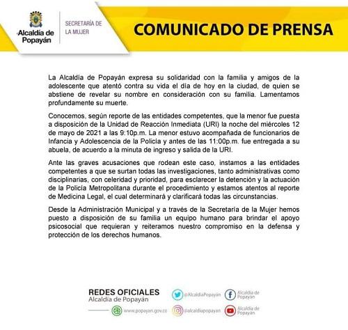 Joven se habría suicidado luego de ser ultrajada por el ESMAD - Comunicado Alcaldía de Popayán