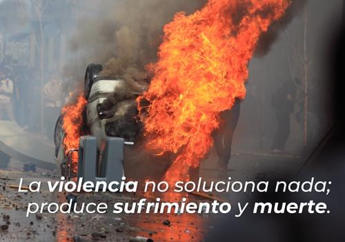 La violencia no soluciona nada; produce sufrimiento y muerte