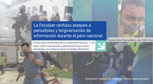 La Fecolper rechaza ataques a periodistas y tergiversación de información durante el paro nacional.