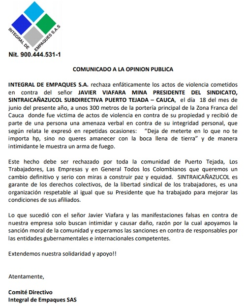 Integral de Empaques rechaza amenazas contra líder sindical en Puerto Tejada
