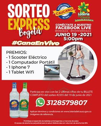 Sorteo Express - Lotería del Cauca