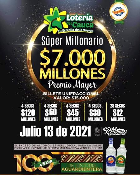 """Sorteo """"Súper Millonario"""" Lotería del Cauca: $7.000 Millones al Premio Mayor"""